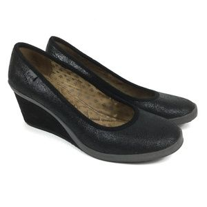 Keds Bliss Black Leather Wedge Heels Size 8
